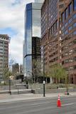Detail von futuristischen Wolkenkratzern in Denver in USA Lizenzfreie Stockfotografie