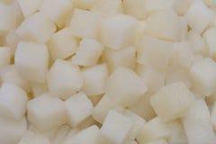Detail von geschnittenen Kartoffeln in den Kästen Lizenzfreie Stockfotos