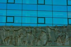 Detail von Glasfenstern und von Skulptur, die Verwaltungsstelle im südlichen Stadtherrn Stockbild