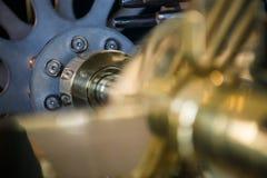 Detail von internen Teilen der Uhr Stockfotografie
