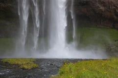 Detail von majestätischen Wasserfällen mit Felsen und Gras Stockfotografie