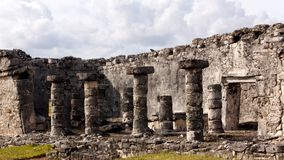 Detail von Mayaruinen bei Tulum stockfotografie