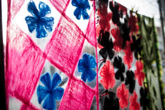 Detail von multi Farbgewebe-Beschaffenheitsproben Lizenzfreie Stockfotos