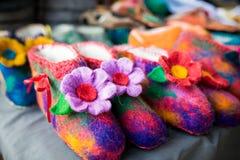 Detail von multi Farbgewebe-Beschaffenheitsproben Stockbild