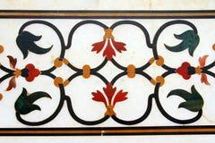 Detail von pietra dura legte Arbeit in Taj Mahal ein Stockfoto