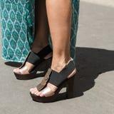Detail von Schuhen Milan Men-` s an der Mode-Woche Lizenzfreies Stockbild