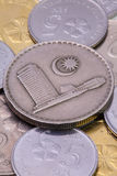 Detail von verschiedenen Münzen des malaysischen Ringgit Lizenzfreie Stockfotografie