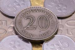 Detail von verschiedenen Münzen des malaysischen Ringgit Lizenzfreie Stockfotos
