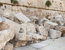 Detail von zweiten Tempel-Ruinen in Jerusalem stockfotos