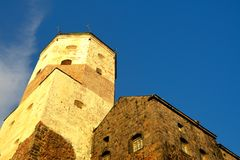 Detail of Vyborg Castle in sunset light Stock Image