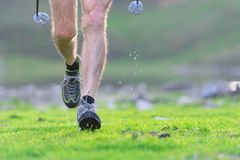 Detail of a walker during Nordic walking stock photography
