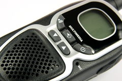 Detail walkie talkie. A long-range walkie talkie with soft shadow on a white background Royalty Free Stock Photo