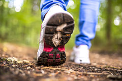 Detail of walking in the woods Royalty Free Stock Photography