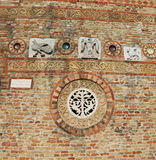 Detail in the wall of ancient Abbey of Pomposa in Italy Royalty Free Stock Photos