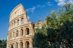 Detail of the wall of the Colosseum in a bright sunny summer day in Rome, Italy Royalty Free Stock Photos