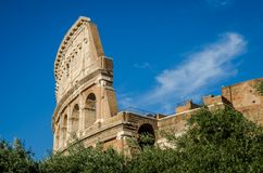Detail of the wall of the Colosseum in a bright sunny summer day in Rome, Italy Stock Image