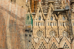 Detail of a wall La Sagrada Familia - the impressive cathedral designed by Gaudi Stock Images