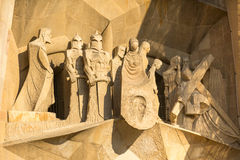 Detail of a wall La Sagrada Familia - the impressive cathedral designed by Gaudi Stock Photo