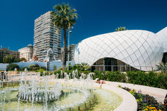 Detail of wall of modern design building Monte-Carlo Pavillions. royalty free stock photos