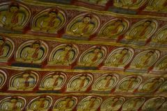 Wall painting in cave temple at Dambulla Royalty Free Stock Photos