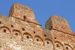 Detail of wall of red brick of a castle Royalty Free Stock Photography