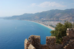Detail of wall and sea landscape. From alanya castle Stock Photo