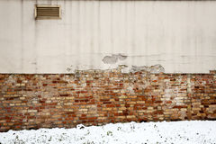 Detail of the wall and snow Royalty Free Stock Images