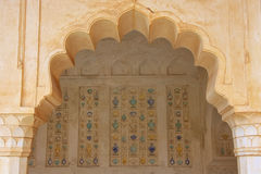 Detail of the wall in Sukh Mahal Hall of Pleasure in Amber For. T, Rajasthan, India. Amber Fort is the main tourist attraction in the Jaipur area Royalty Free Stock Photo