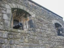 Detail of walls fortress with cannon, Edinburgh royalty free stock images