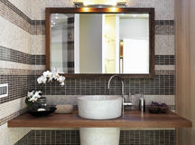 Detail of washbasin in modern bathroom Stock Photo