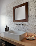 Detail of washbasin in a modern bathroom Royalty Free Stock Images