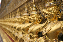 Detail of Wat Phra Kaew, Bangkok. Garuda and Nagas, at the outside of the ubosoth, which houses the Emerald Buddha royalty free stock photos