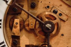 Detail of watch machinery on the table stock photo