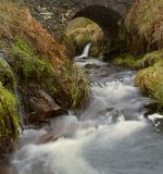 Detail of waterfall at Three Shires Head Royalty Free Stock Image
