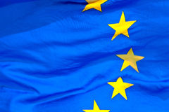 Detail of the waving EU Flag Royalty Free Stock Photos