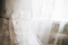 Detail of wedding, bride's veil. Beauty dress Royalty Free Stock Photo