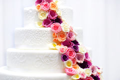 Detail of a wedding cake decorated with sugar flowers Stock Image