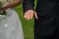 Detail of wedding ceremony. Moment of the wedding ceremony, the groom shows his wedding ring stock photos