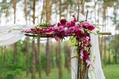 Detail of wedding decoration - flower arch corner Stock Image