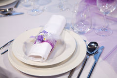 Detail of a wedding dinner Stock Image
