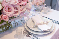 Detail of a wedding dinner. Setting Stock Photos