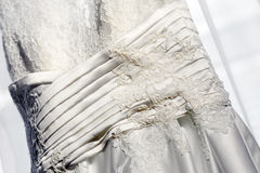 Detail of a wedding dress Royalty Free Stock Photos