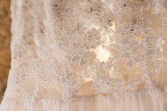 Detail of a wedding dress Royalty Free Stock Photos