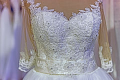 Detail of a wedding dress Stock Photos