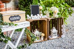 Wodden letters forming word Mr&Mrs. Detail wedding reception, Wooden letters forming word Mr&Mrs stock photography
