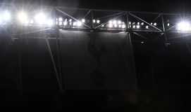 Detail of Wembley Stadium in Tottenham branding. Players pictured during the UEFA Champions League Round of 16 game between Tottenham Hotspur and Juventus Torino Royalty Free Stock Images