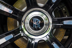 Detail of wheel and brake system of the full-size luxury car Rolls-Royce Ghost (since 2010). Royalty Free Stock Photos