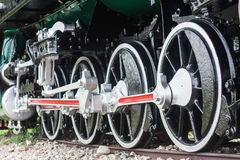 Detail of the wheels on a  train Royalty Free Stock Images