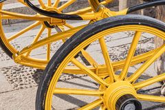 Detail of wheels of typical chariot in Seville. Spain Stock Images
