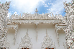 Detail of white temple, Chiangrai, Thailand. Royalty Free Stock Photography